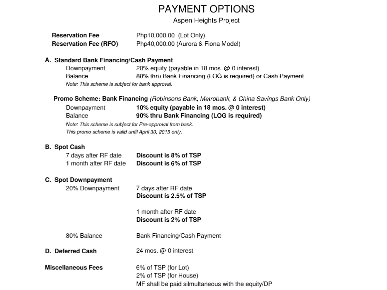 Aspen Heights Payment Options