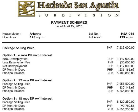 Hacienda san agustin ariana price 1
