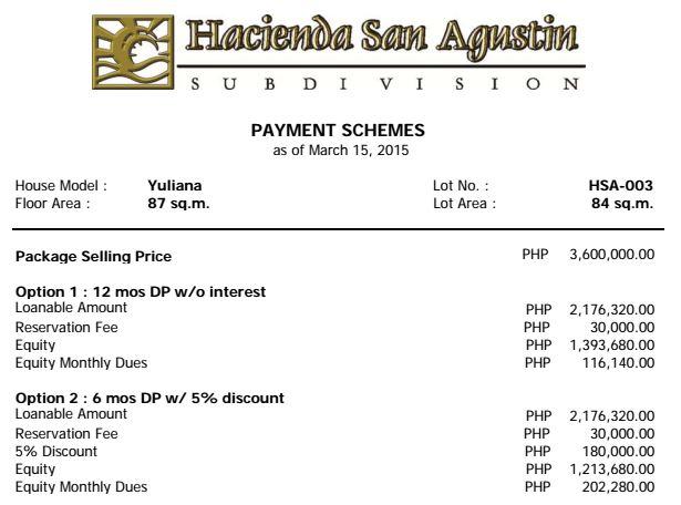 Hacienda san agustin price list 1