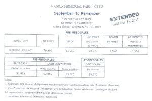 Manila Memorial price Oct 2017