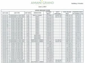Amani Residences price 1 june 2017