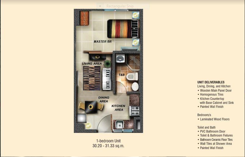 Soltana 1 bedroom floor plan