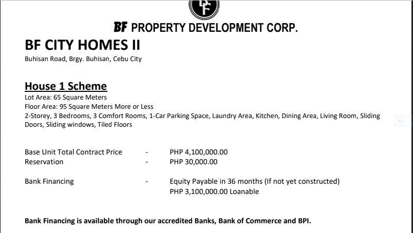 BF Homes Buhisan price 1 june 2018