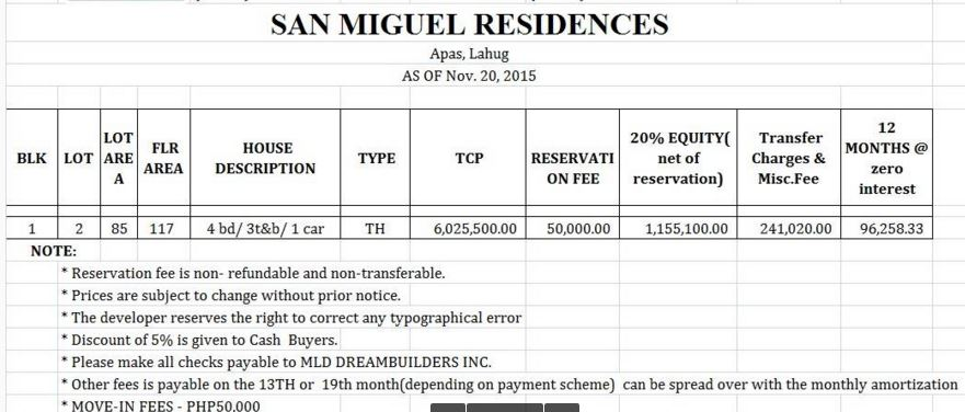 San Miguel Residences new price