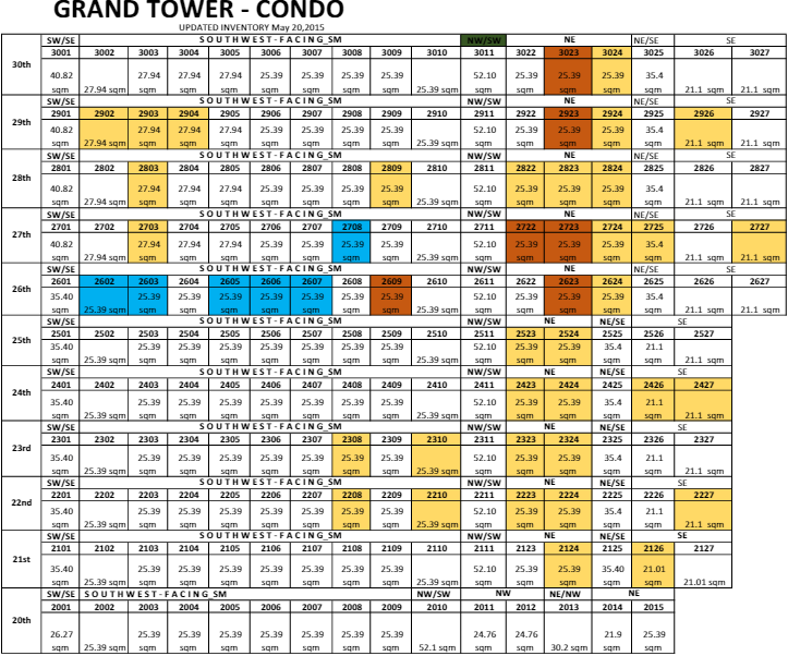 Grand Tower updated inventory
