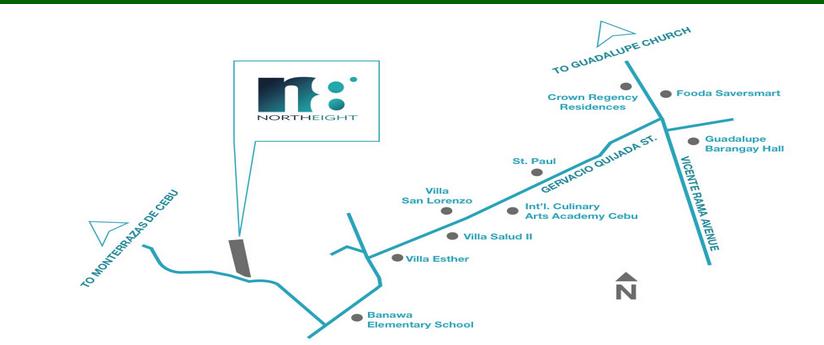 North 8 location map