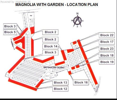 Bayswater magnolia with garden map