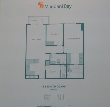 Mandani Bay 2 bedrooms floor plan