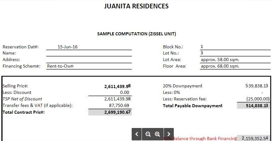 Junita Residences sample computation 1