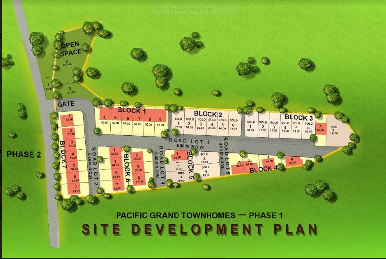 Pacific Grand townhomes map