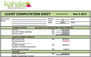 Kahale Residences computation 3 Nov 2017