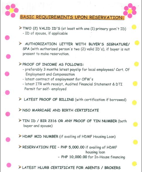 Villa Melissa requirements