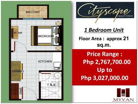 City Scape Grand Tower floor plan 1 bedroom
