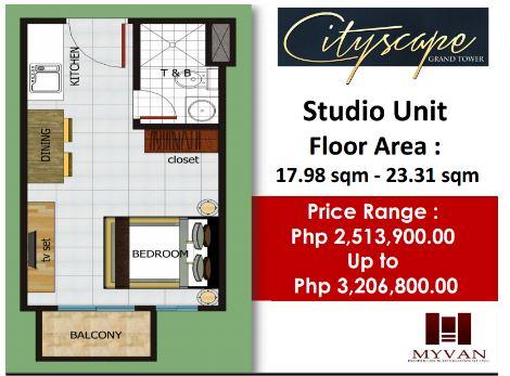 City Scape Grand Tower floor plan studio