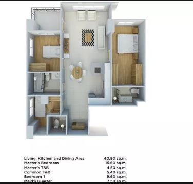 One Tectona 2 bedroom floor plan