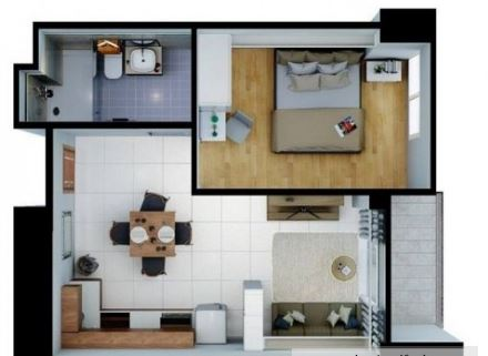 One Tectuna 1 bedroom floor plan