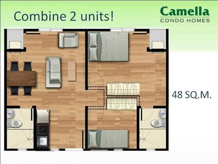 Camella Condo Homes floor area combined units