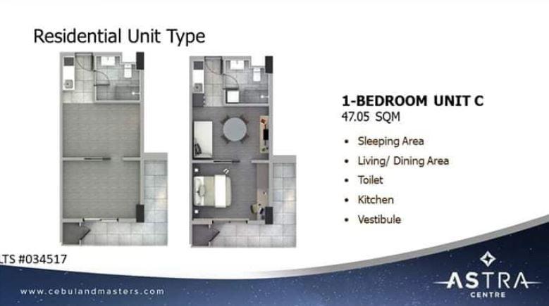 Astra 1 bedroom floor plan C