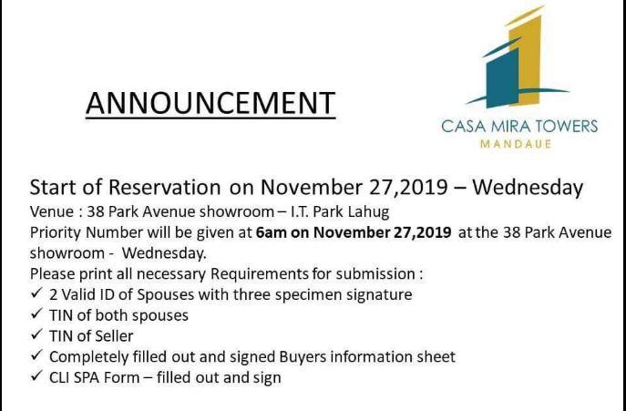 Casa Mira Towers Mandaue announcement